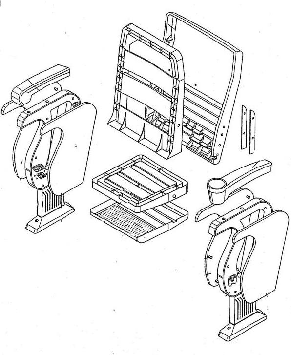 estructura plástica y metalica de una butaca de cine